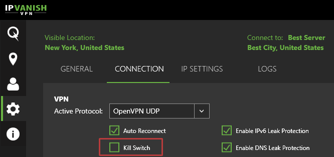 سوئیچ IPVanish kill for Vuze
