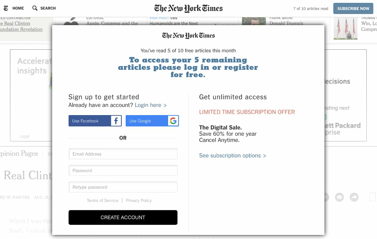 Content Gate in NYTimes