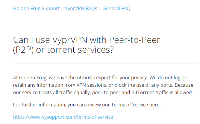 VyprVPN Torrent / P2P Policy