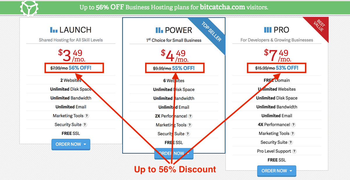 Inmotion Hosting Bitcatcha読者限定56%割引