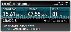 NordVPN Speed ​​Test (Hollandia)