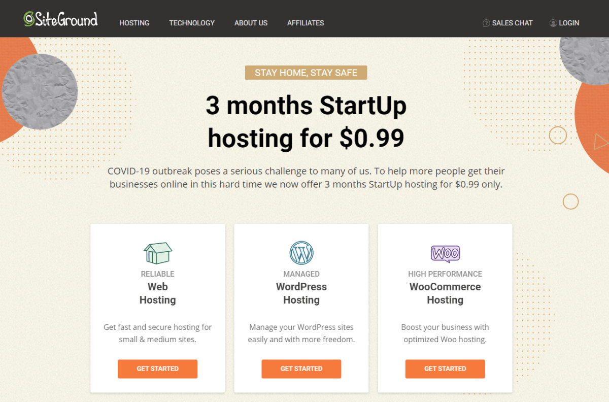 siteground opstart hosting deal covid19