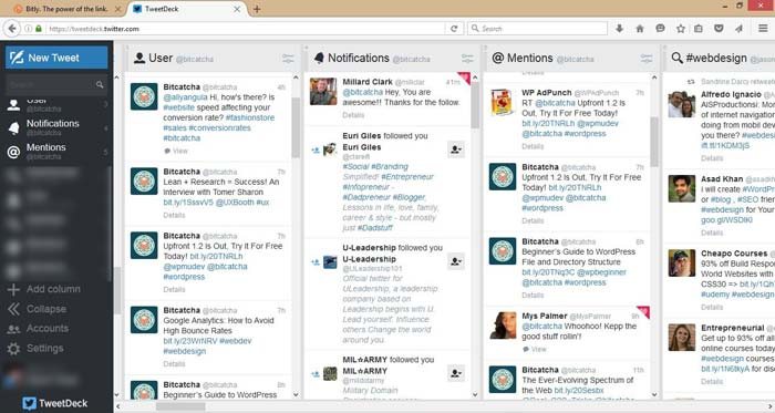 Streaming Twitter su TweetDeck