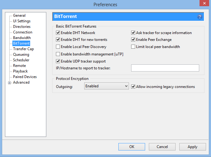 uTorrent DHT Settings