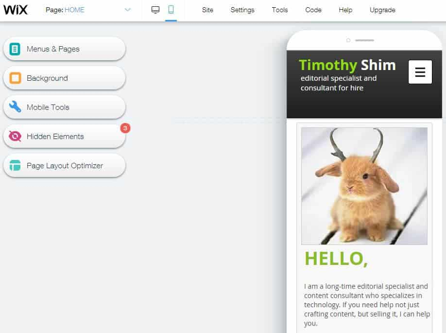 Wix Mobile Site Editor