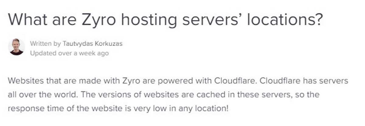 zyro utilizza server cloudflare